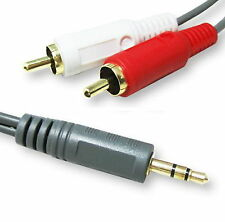 30FT 10M 3.5mm Plug TO 2-RCA Male Stereo Audio Cable Subwoofer Speakers Two RCA