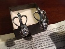 Vintage Sheffield Silver Mace Cufflinks - Alva Museum - Crown - Power Cuff Link