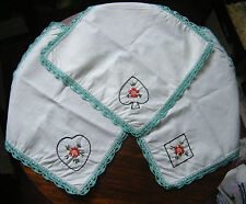 Collectible Embroidered Doilys Set 3 Napkins Playing Card Symbols Crochet Trim