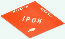 SINGAPORE MALAYAN AIRWAYS TO IPOH VINTAGE AIRLINE LUGGAGE LABEL
