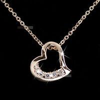 18k rose gold gf made with SWAROVSKI crystal heart pendant necklace elegant