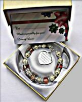 Personalised Engraved Mother Mum Cube Bead Bracelet With Free Box and Gift Card