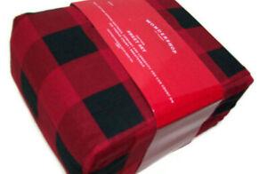 Wonder Shop Home 220 TC Cotton Red Black Buffalo Check Plaid King Sheet Set New