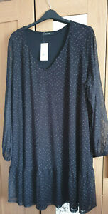 Evans Black Polka Dot Tiered Mesh Dress - Plus size 30/32 - BNWT