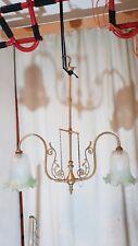 Vintage Antique Brass 2 Lamp Electric Ceiling Light Chandelier. Gas Conversion?