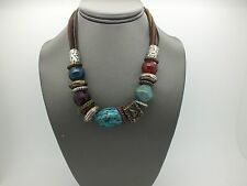 """LARGE ASSORTED BLUE RED SILVER BEAD NECKLACE ON MULTI STRAND LEATHER CORD 16"""""""