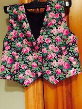 Vintage Flower Print Silky Reversible Double Sided Vest