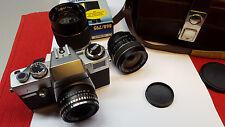 Spiegelreflex Kamera Porst Compact Reflex CX Blitz 3 Objektive Blitz Tasche