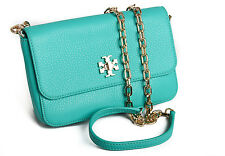 NEW $275 Tory Burch MERCER Classic Leather Crossbody Clutch in DEEP BISCAY Green