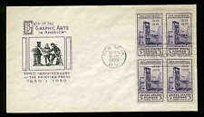857 BLOCK of 4 PRINTING FDC NEW YORK, NY PLANTY P6 IOOR CACHET
