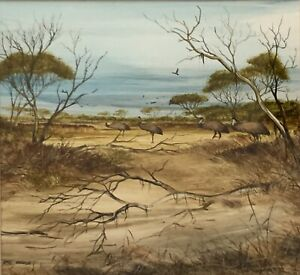 """Original Oil On Board Painting by Robert Taylor """"Emu Parade"""" """"Outback Wild"""""""