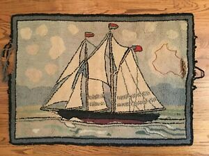 Antique American Folk Art Hooked Rug Clipper ship. ca 1890-1900 29x40 inches
