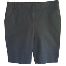 Cutter & Buck Womens Casual Shorts Size 12 Golf Bermuda Flat Front Black Stretch