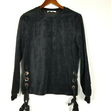 Love Tree Los Angeles Womens Top Size S Black Velour Side Tie Long Sleeve Shirt