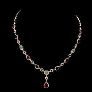 Necklace Pink Ruby Green Emerald Blue Sapphire Sterling Silver 17 1/2 to 18 1/2