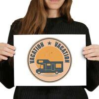 A4 - Camper Van Bus Motorhome Camping Poster 29.7X21cm280gsm #7380