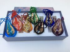 Set Of 7 Art Glass Hand Blown Necklace Pendants New W/ Gift Box Dichroic