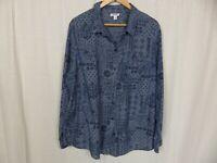 Old Navy Women's Blue Bandana Print Long Sleeve Button Front Shirt Cotton 2XL