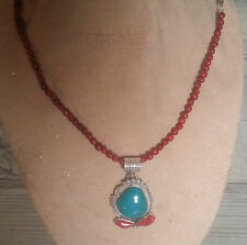 Navajo Signed R.B. Turquoise & Coral Pendant on Apple Coral Necklace