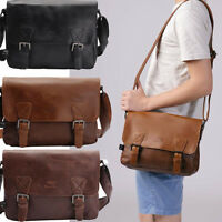 Briefcase laptop bags Vintage Men's Crazy Horse Leather shoulder Messenger bag