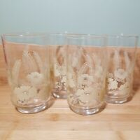Vintage Yellow/ Cream Wheat Flower Drinking Glasses Set Of 4