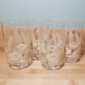 4 Vintage Retro Farmhouse Country Blue Yellow Bow Print Drinking Glasses 10 Oz