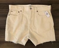GAP NWT Women's Ivory Cotton Blend Cut Off Corduroy Shorts-Size 8/29