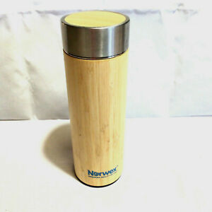 NORWEX Consultant Bamboo Infuser Tumbler Travel Mug Stainless Steel Thermos 16oz