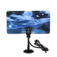High Gain Flat Design Digital Indoor TV Antena HDTV DTV Ready VHF UHF F Male