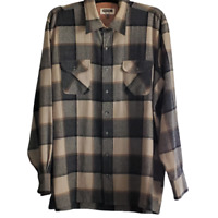 Vintage Shelter Bay by Arrow Mens Gray Tan Brown Black Plaid  Shirt SZ 2XL Tall