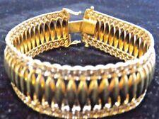 WIDE FANCY AURAFIN BRACELET, 18.5mm WIDE / 7.25 INCHES LONG, 14K YELLOW GOLD