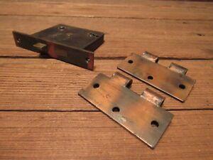 Vintage Lot Japanned Flash Finish Rusty Steel Russwin Door Lock Partial Hinges