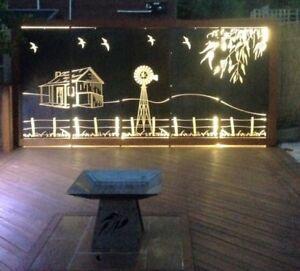 Decorative Garden Metal Fence Screen 'Outback' Lasered, 4620x1800, Corten Steel