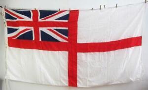 HUGE 8' SEWN PANEL BRITISH ROYAL NAVY WHITE ENSIGN FLAG UNION JACK ship boat