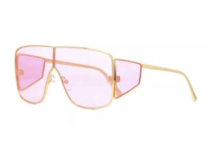 Tom Ford SPECTOR FT0708 TF 708 33Y Gold Pink Lens Shield Sunglasses Authentic