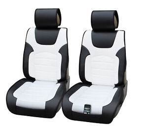 2 PU Leather 2 Front Car Seat Cushion Covers for Mercury 6802 Black/White