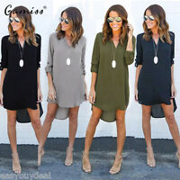 Women Blouse Chiffon Long Sleeve Ladies T Shirt Casual Loose Short Dress Tops UK