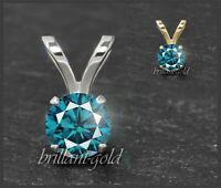 Diamant 585 Gold Damen Anhänger, blaue Brillanten 3-5mm/ 0,10-0,50ct