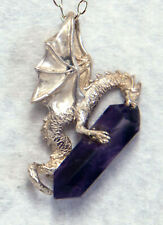 Dragon and Amethyst crystal Sterling Silver Pendant ~