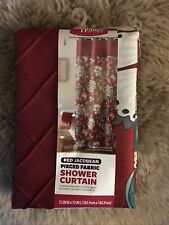 Better Homes And Garden Red Jacobean Pieced Fabric Shower Curtain New