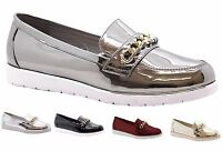 New Womens Slip On Chain Loafers Gloss Flat Casual Formal Pumps Shoes