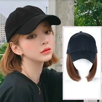 Baseball Hat with Hair Wigs Syntheitc Pixie Cut Bob Hair Hat for Women in Summer