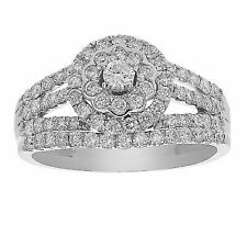 1. Ct Round Cut D Vvs1 Diamond Halo Engagement Ring 14k White Gold Over
