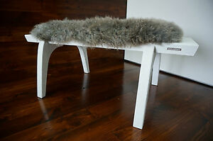 Minimalist white Oak wood indoor bench - upholstered Scandinav sheepskin - 13