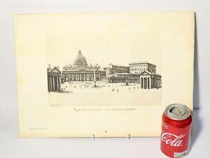 Italian Engraving Print on Card Rome Piazza San Pietro by Antionio Carbouati
