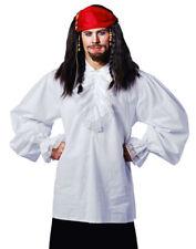 Pirate / Colonial Era Shirt Wht Stand Up Collar Ruffled 18th Century Shirt Lg