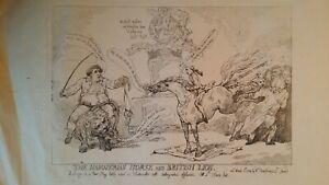 1784 / 1825 SATIRICAL PRINT - HANOVERIAN HORSE BRITISH LION - THOMAS ROWLANDSON