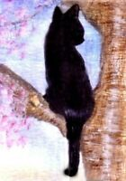 NEW BCB Black Cat Sitting in Cherry Tree Print of Painting ACEO 2.5 x 3.5 Inches