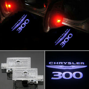 2x White LED Door Ghost Logo Projector Puddle Light HD For Chrysler 300 2005-19