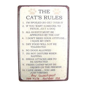 Funny Cat's 10 Rules Novelty Tin Sign Metal Wall Art Home Decor Pet Lover Gift